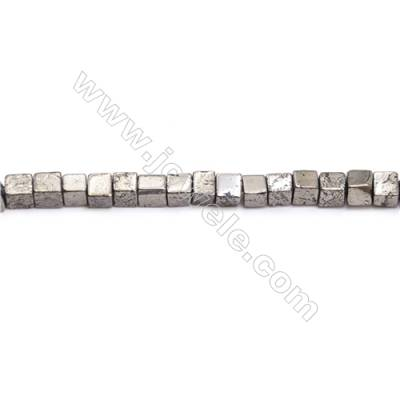Natural Pyrite Beads Strand  Cube   Size 4x4mm  Hole 0.8mm  about 98 beads/strand 15~16""