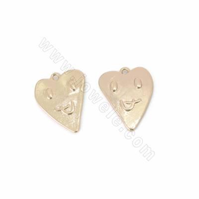 Brass Pendants, Heart, Gold...