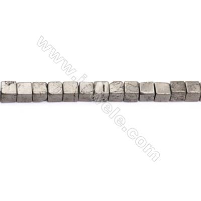 Natural Pyrite Beads Strand  Cube   Size 8x8mm  Hole 1mm  about 49 beads/strand 15~16""