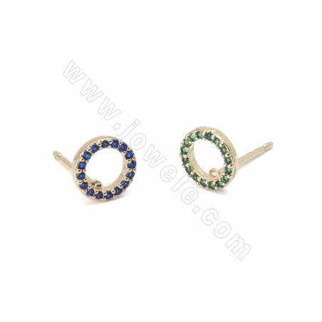 Brass Micro Pave Cubic Zirconia Stud Earring Findings, Round, Size 7mm, Pin 0.8mm, 20pcs/pack