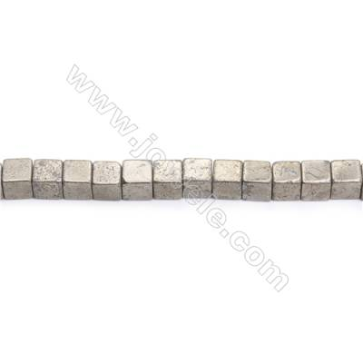 Natural Pyrite Beads Strand  Cube   Size 10x10mm  Hole 1mm  about 39 beads/strand 15~16""