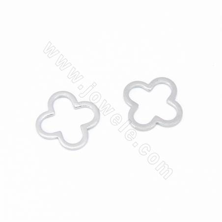 Brass Charms Earring Charms/Pendants, Clover, White Gold Plated, Size 15x12mm, 80pcs/pack