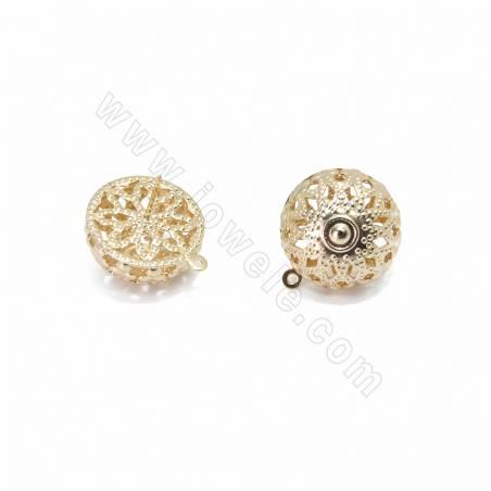 Brass Stud Earring Findings, Semi-round, Champange Gold, Size 20x10mm, Pin 0.7mm, Hole 0.8mm, 100pcs/pack