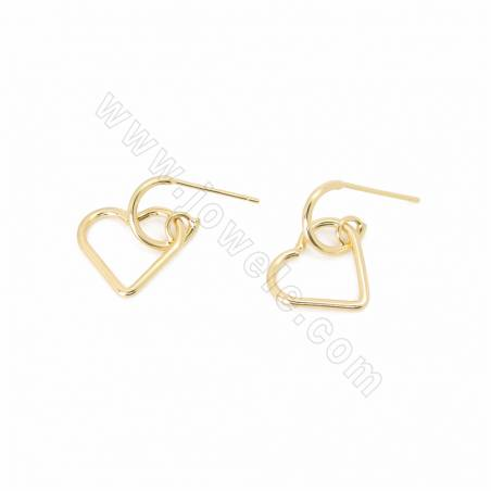 Brass Stud Earring Findings, with 925 Silver Pin, Heart, Real Gold Plated, Size 16x13mm, Pin 0.7mm, 50pcs/pack