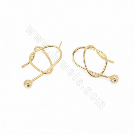 Brass Stud Earring Findings, with 925 Silver Pin, Real Gold Plated, Size 35x16mm, Pin 0.7mm, 30pcs/pack