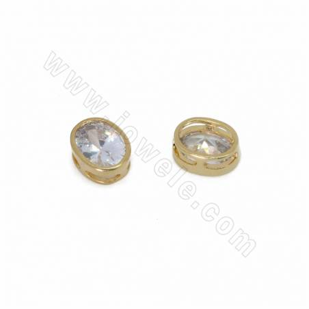 CZ Brass Slide Charms, with Rhinestone, Oval, Real Gold, Size 9x9mm, Thick 4mm, 30pcs/pack