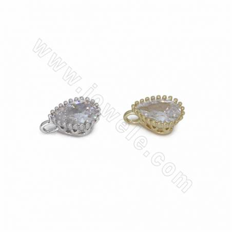 CZ Brass Pendants, with Rhinestone, Waterdrop, Size 9x5mm, Thick 4mm, Hole 0.8mm, 90pcs/pack