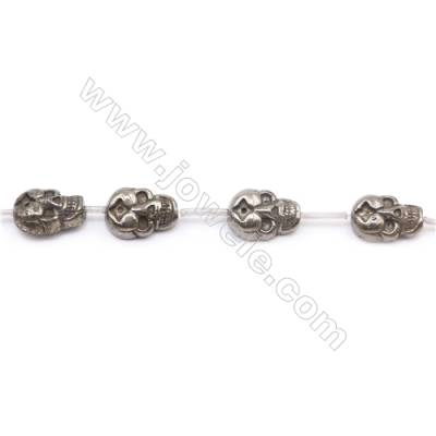 Natural Pyrite Beads Strand Flat Skull   Size 13x18mm  Hole 1mm  about 13 beads/strand 15~16""