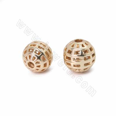 Brass Hollow Beads, Round,...