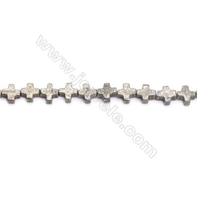 Natural Pyrite Beads Strand  Cross   Size 8x8mm  Hole 0.8mm  about 97 beads/strand 15~16""