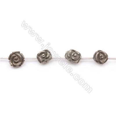 Natural Pyrite Beads Strand  Rose   Size 14x14mm  Hole 1mm  about 15 beads/strand 15~16""