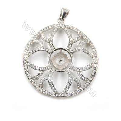 925 Sterling silver CZ pendant platinum plated, 34x34mm, x 5 pcs, tray 6mm, needle 0.7mm