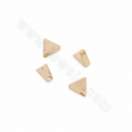 Brass Pendants, Triangle, Champagne Gold, Size 6x8mm, Hole 1.5mm, 200pcs/pack
