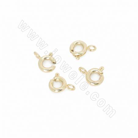 Brass Spring Clasps, Real Gold Plated, Size 9x7mm, Hole 1.5mm, 250pcs/pack