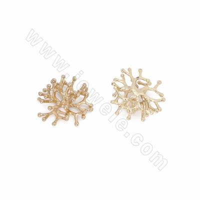Brass Cabochons, Coral,...