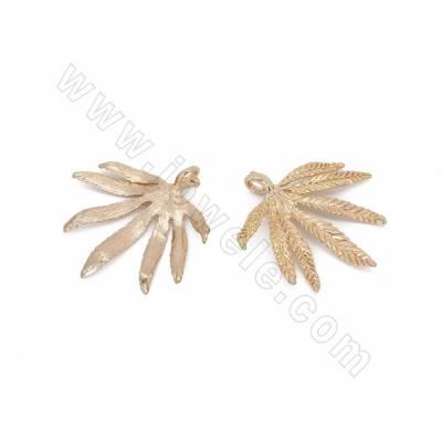 Alloy Pendants, Palm Leaf,...