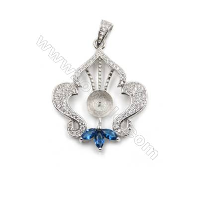 Platinum Plated 925 sterling silver zircon pendant, 26x28mm, x 5 pcs, tray 6mm, needle 0.7mm