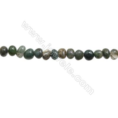 "Natural Moss Agate Beads Strand  Irregular 7~9mm x 8~10mm  hole 1mm 15~16"" x 1piece"