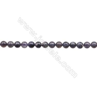 Natural Iolite Beads Strand  Round  Diameter 6mm  Hole 1mm  about 62 beads/strand  15~16""