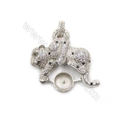 925 Sterling silver platinum plated zircon pendant, 30x26mm, x 5pcs, tray 9mm, Pin 0.7mm
