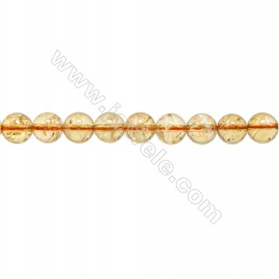Natural Citrine Beads Strand  Round Diameter 8mm   hole 1mm  about 49 beads/strand  15~16""