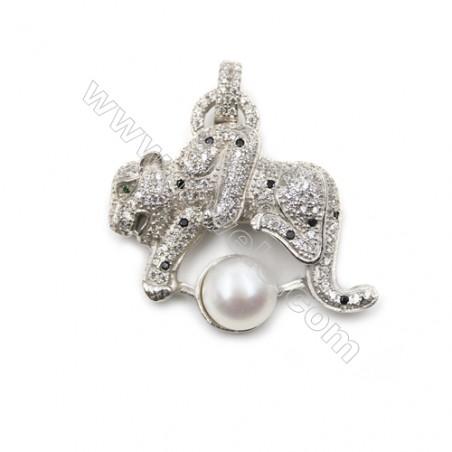 925 Sterling silver  platinum plated zircon pendant -D5529 30x26mm x 5pcs disc diameter 9mm Small Pin Diameter 0.7mm