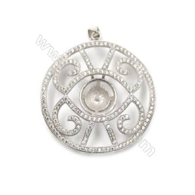 925 Sterling silver platinum plated zircon pendant, 34x34mm, x 5 pcs, tray 6mm, needle 0.8mm