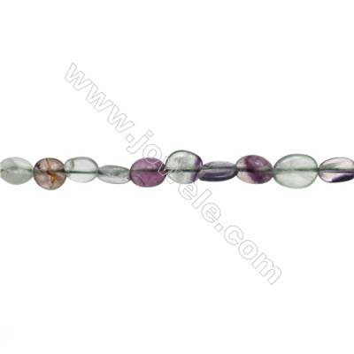Natural Fluorite Beads Strand  Irregular  Size 6~8mm x 7~10mm  hole 1mm  15~16'' x 1strand