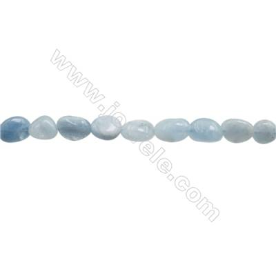 "Natural Aquamarine Beads Strand  Irregular  Size  8~9x9~12mm  hole 1mm  15~16"" x 1strand"
