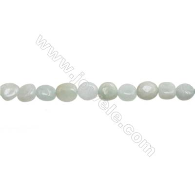 "Natural Burma Jade Beads Strand  Irregular  Size 8~9x9~13mm  hole 1mm  15~16"" x 1strand"