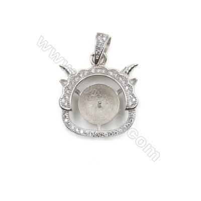 Sterling silver 925 platinum plated zircon pendants, 19x20mm, x 10 pcs, tray 9mm, needle 0.7mm