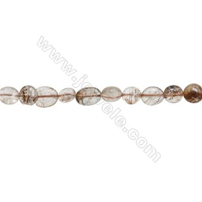 "Natural Rutilated Quartz Beads Strand  Irregular   about 8~9x9~13mm  hole 1mm  15~16"" x 1strand"