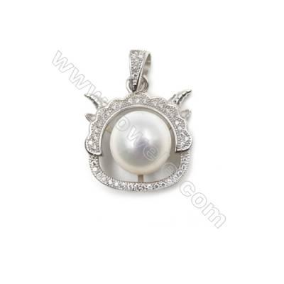 Sterling silver 925 platinum plated zircon pendants-D5729 19x20mm x 10 pcs disc diameter 9mm small needle diameter 0.7mm