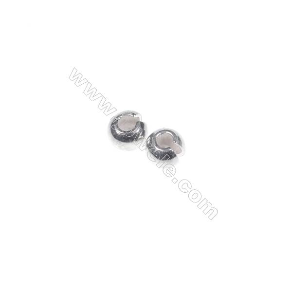 Sterling silver crimp beads, 3mm, x 200pcs, hole 1.3 mm