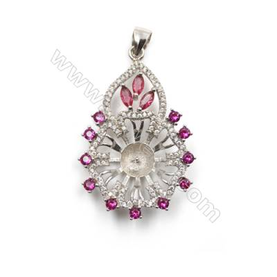 Platinum plated 925 sterling silver pendants, Micro pave cubic zirconia, 25x38mm, x 5 pcs, tray 8mm, pin 0.8mm