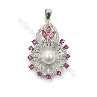 Platinum plated 925 sterling silver pendants  Micro pave cubic zirconia  25x38mm x 5 pcs  tray 8mm  pin 0.8mm