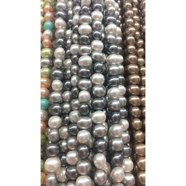 Shell Pearl Beads Strands, Oval, Dyed, Colorfull, Size approximate  12x13x15mm, Hole 1mm, about 30 beads/strand