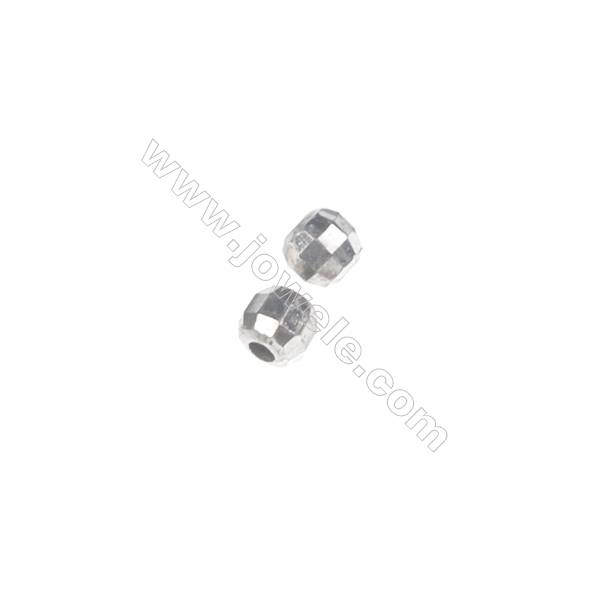 925 Sterling silver round faceted beads, 2 mm, x 200pcs, hole 0.6 mm