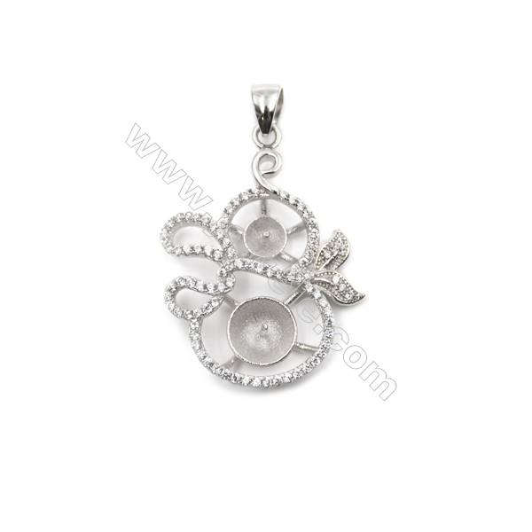 925 Sterling silver platinum plated zircon pendants, 22x31mm, x 5 pcs, tray 9&5mm, needle 0.8 & 0.7mm