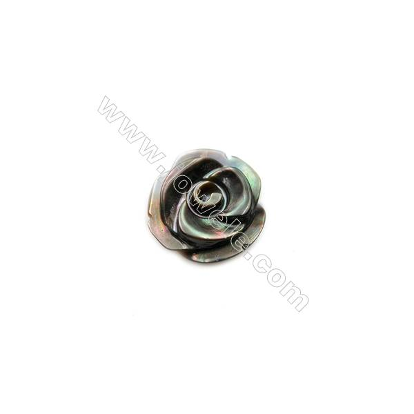 Gray mother-of-pearl rose shell, diameter 12 mm, holes  1.2mm, 30pcs/pack