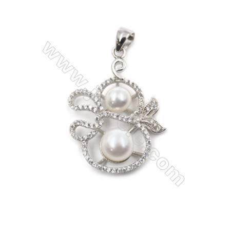 925 Sterling silver platinum plated zircon pendants -D5609 22x31mm x 5 pcs disc diameter 9&5mm small needle diameter 0.8 & 0.7mm