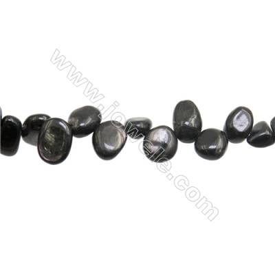 """Natural Obsidian Beads Strand  Chips  Size 8~13x9~14mm  hole 1mm  15~16"""" x 1strand"""