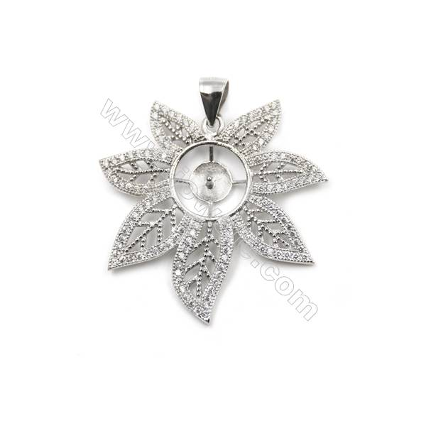 925 sterling silver platinum plated zircon pendant, 30x30mm, x 5 pcs, tray 5mm, needle 0.7mm