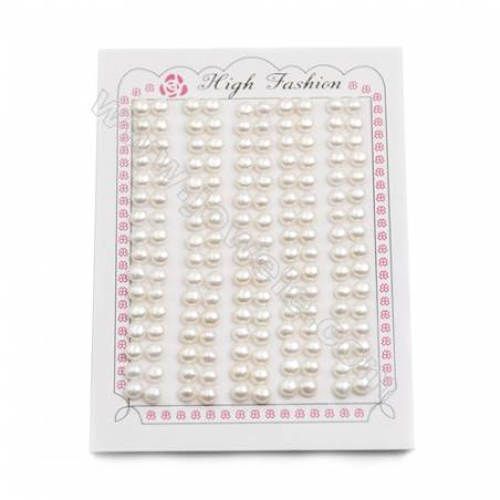 Fresh Water AAA Grade Half-Drilled Pearl Beads, Flat Back, Diameter 5~5.5mm, Hole 0.8mm, 160beads/pack
