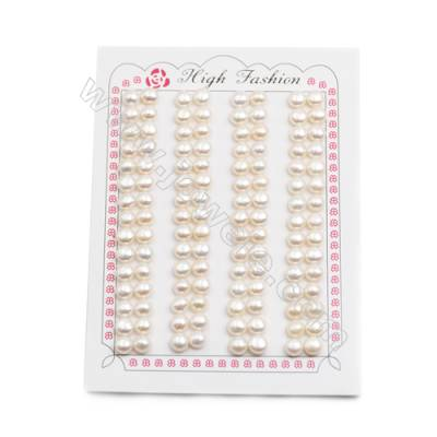 Fresh Water AAA Grade Pearl Half-Drilled Beads, Flat Back, Diameter 5.5~6mm, Hole 0.8mm, 120 beads/pack
