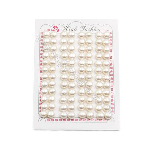 Fresh Water AAA Grade Half-Drilled Pearl Beads, Flat Back, Diameter 7~7.5mm, Hole 0.8mm, 96 pcs/card