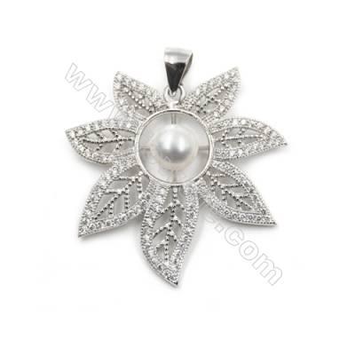 925 sterling silver platinum plated zircon pendant-D5358 30x30mm x 5 pcs disc diameter 5mm small needle diameter 0.7mm