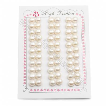 Fresh Water AAA Grade Half-Drilled Pearl Beads, Flat Back, Diameter 7.5~8mm, Hole 0.8mm, 66pcs/card