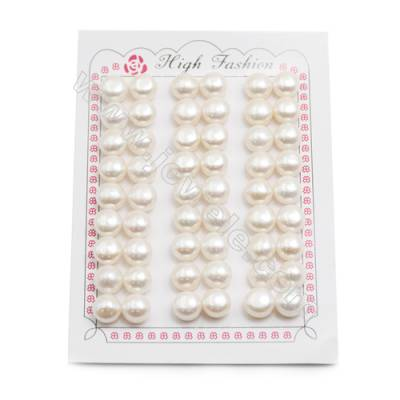 Fresh Water AAA Grade Half-Drilled Pearl Beads  Flat Back   Diameter 9.5~10mm  Hole 0.8mm  54pcs/card