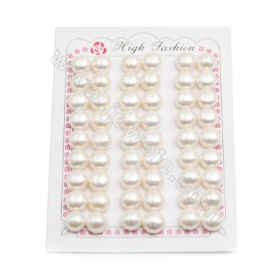 Fresh Water AAA Grade Half-Drilled Pearl Beads, Flat Back, Diameter 10~10.5mm, Hole 0.8mm, 54pcs/card